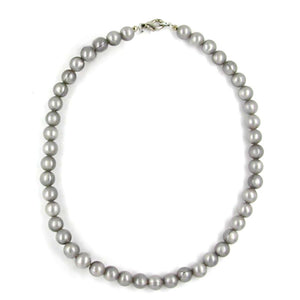 necklace silky shimmering light grey beads