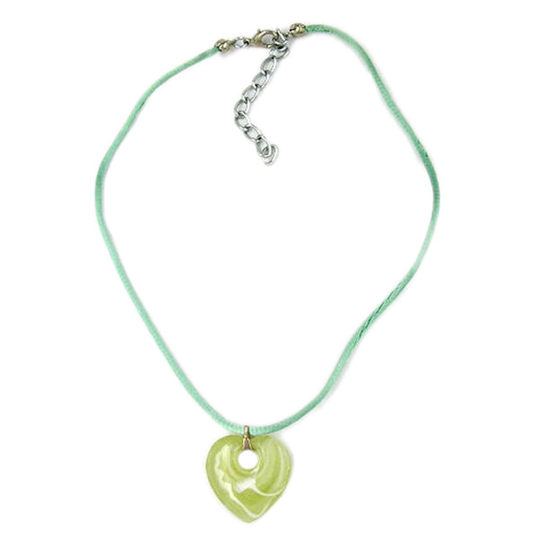 necklace heart with hole green