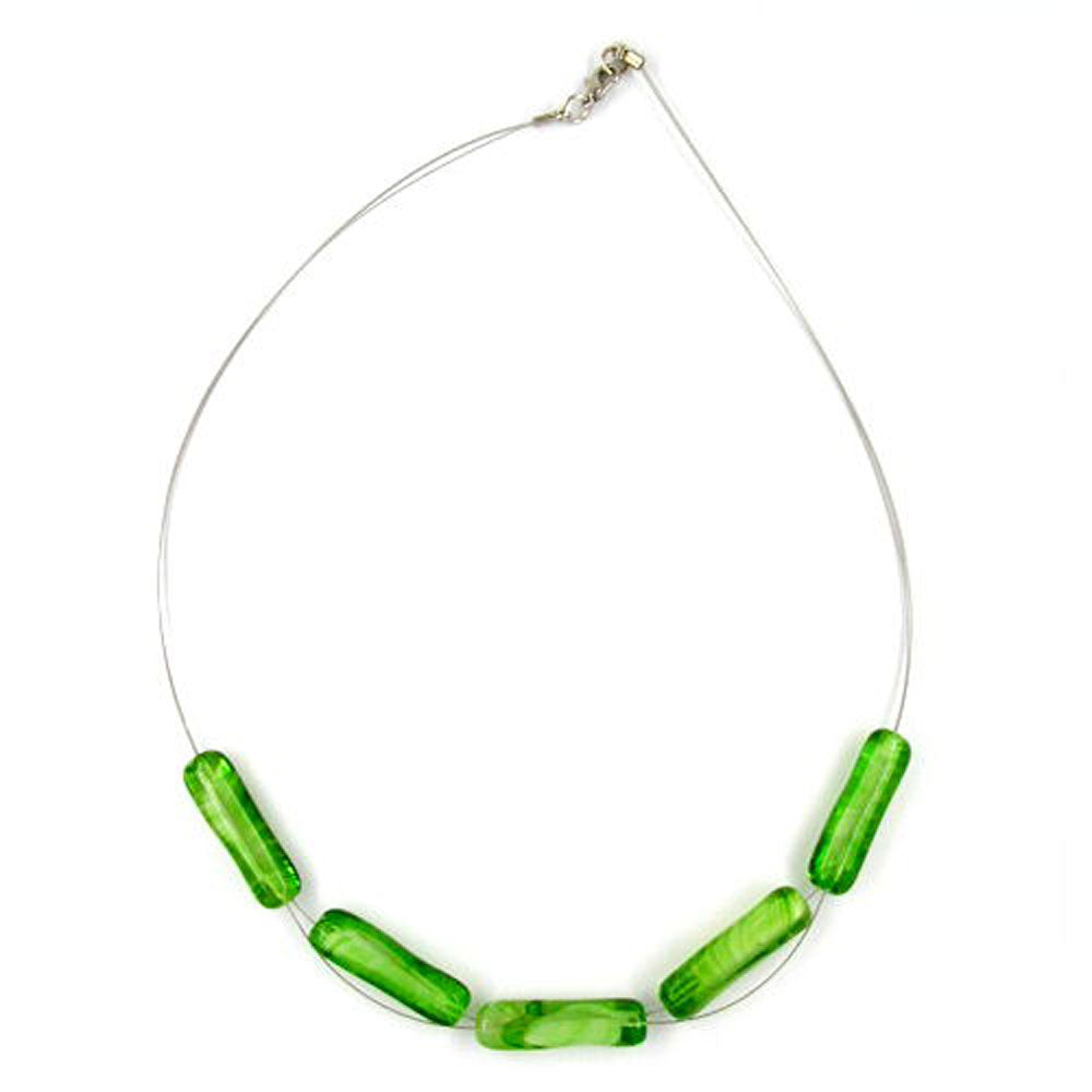 necklace glass beads green-white 45cm