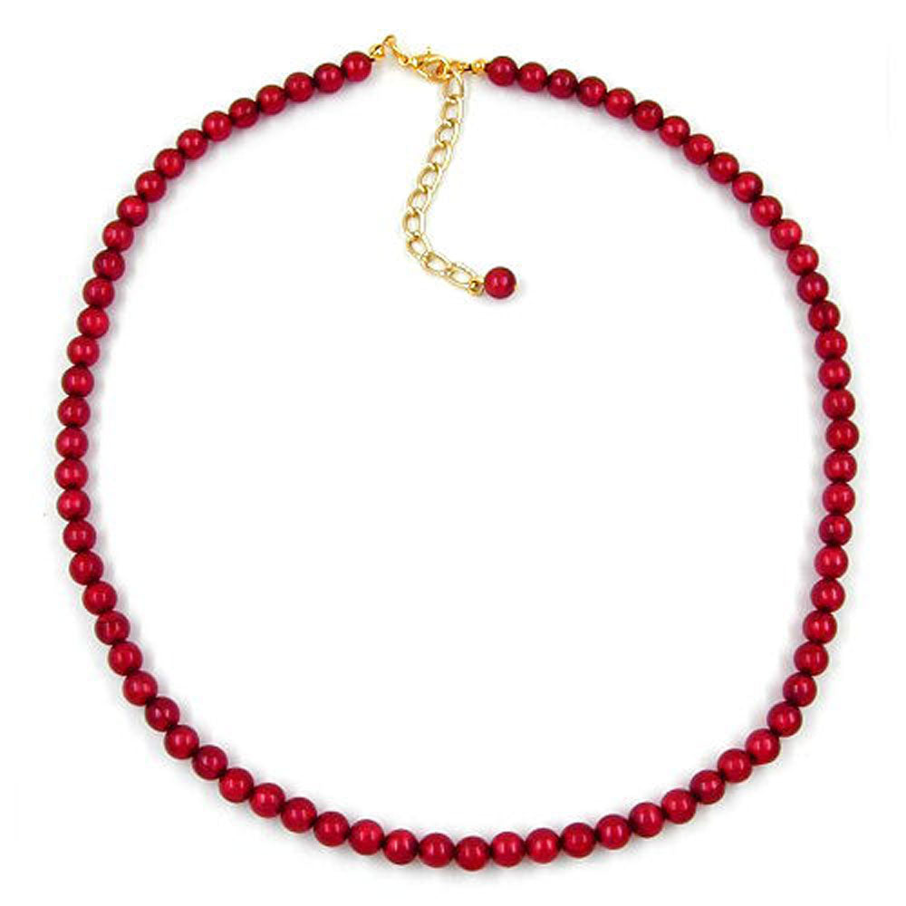 necklace beads 6mm silk-wine-red