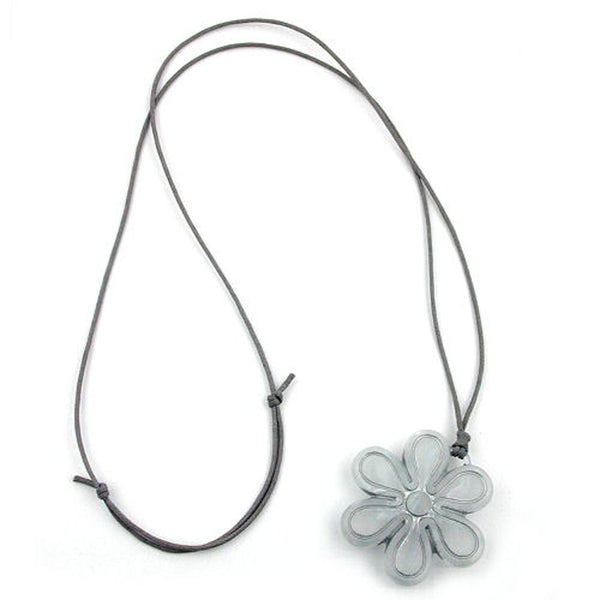 necklace big flower pendant grey cord
