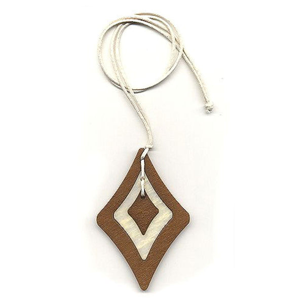 necklace baroque pendant brown/ white