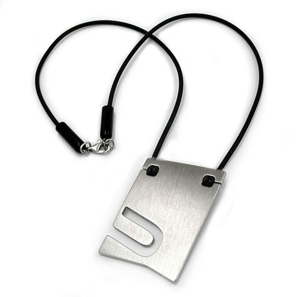 necklace initiale u stainless steel 42cm