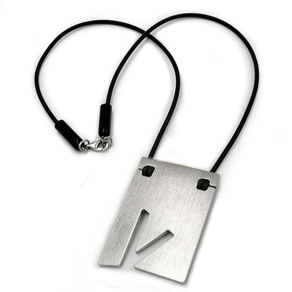 necklace initiale v stainless steel 42cm