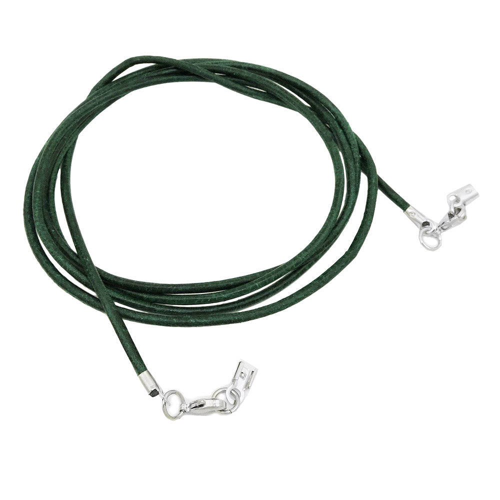 leather cord green clasp rhodium-plated