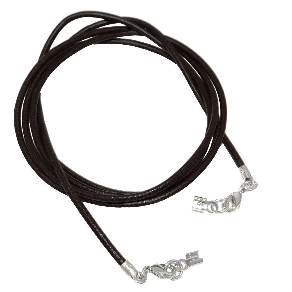 leather cord red clasp rhodium-plated