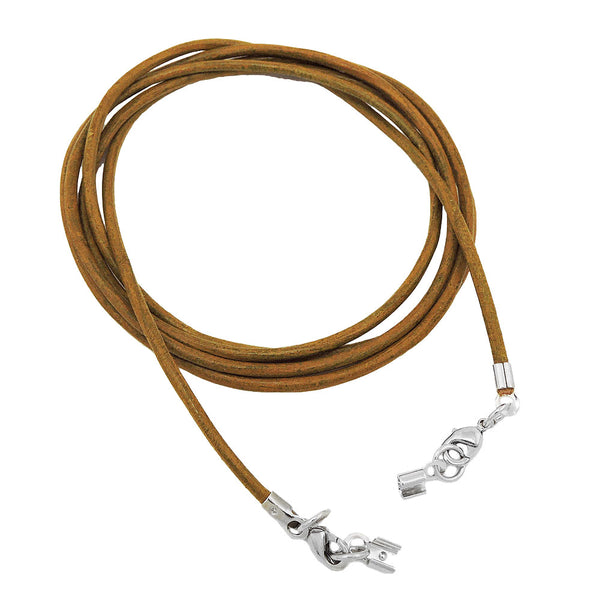 leather cord khaki clasp rhodium-plated