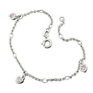 bracelet anchor chain heart zirconia pink silver 925