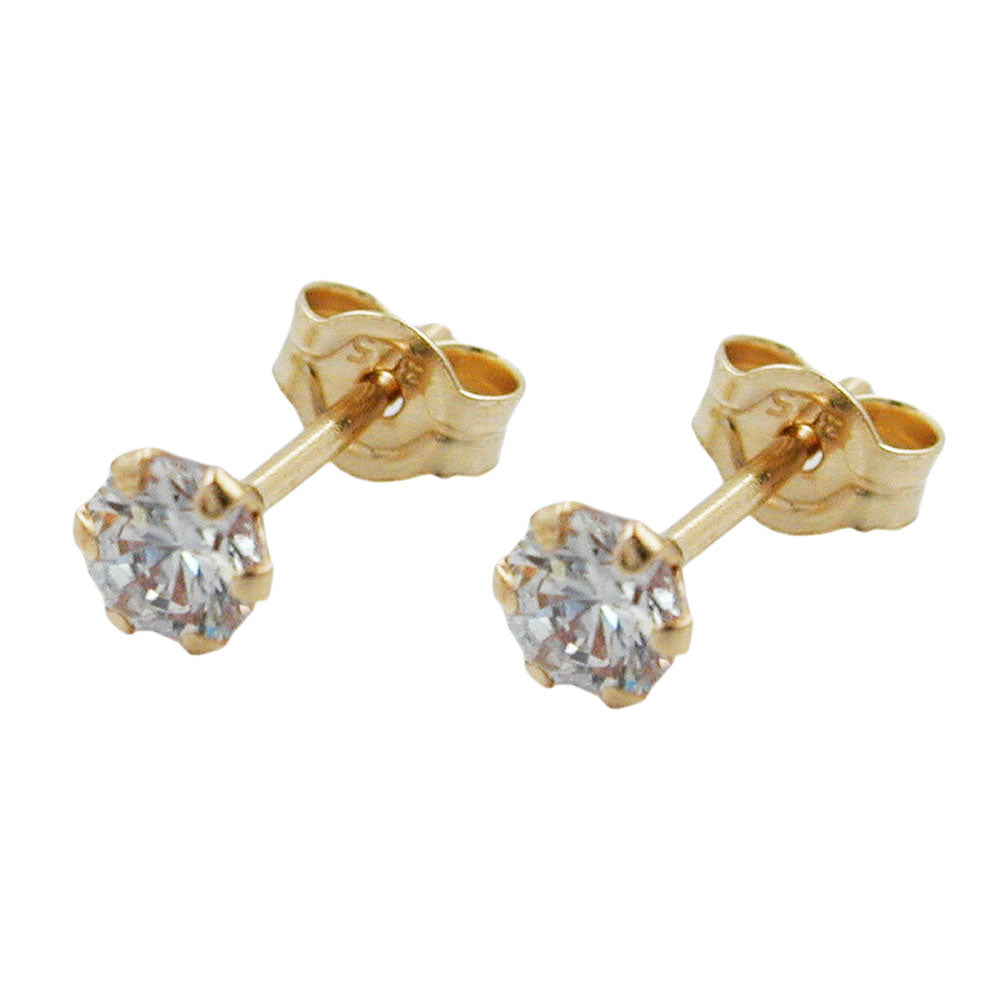 stud earrings zirconia 3mm 9k gold