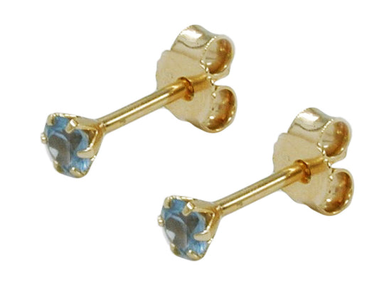 stud earrings synthetic aquamarine 3mm 9k gold