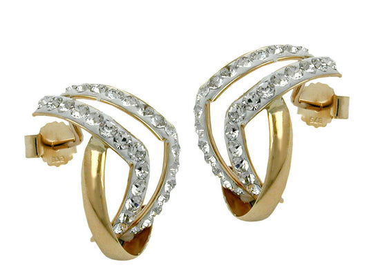 stud earrings with zirconias 9k gold