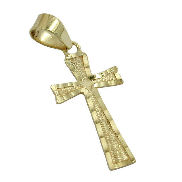 pendant cross diamond cut 9k gold