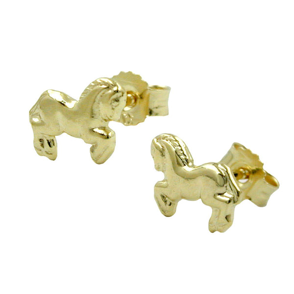 stud earrings horses 9k gold