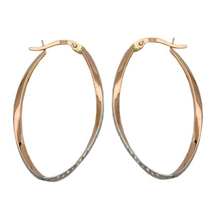 hoop earrings oval twisted 9k redgold