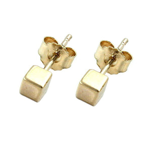 earrings 9k gold small cube