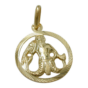 pendant zodiac sign aquarius 9k gold