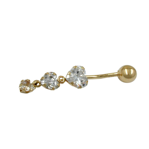 navel-belly bar 3 cz-hearts 14k gold