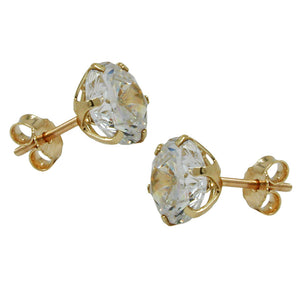 earrings cubic zirconia 8mm 9k gold