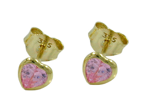 stud earrings zirconia pink heart 9k gold