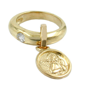 pendant ring baby's christening 9k gold