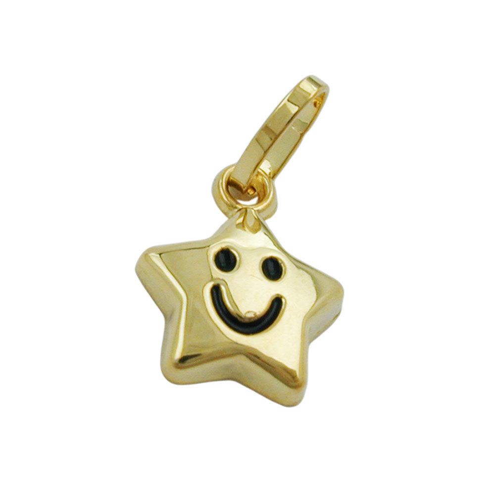 pendant 9k gold star with face
