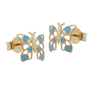 earring stud butterfly blue 9k gold