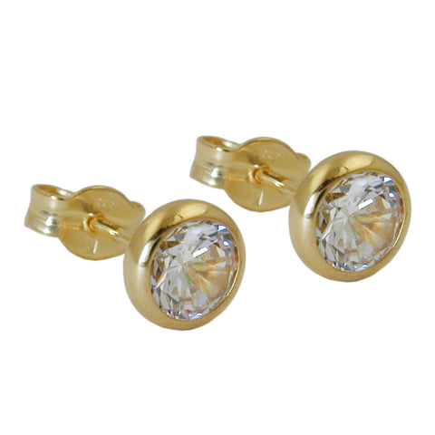 stud earrings white zirconia 8k gold