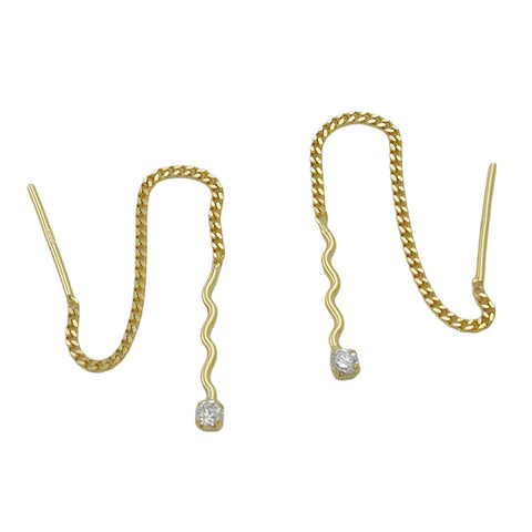 chain earrings wave with zirconia 8k gold
