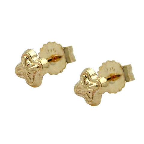 stud earrings stars 4mm 9k gold