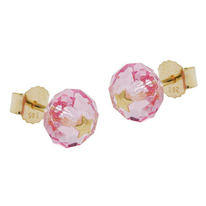 stud earrings crystal pink star 14k gold