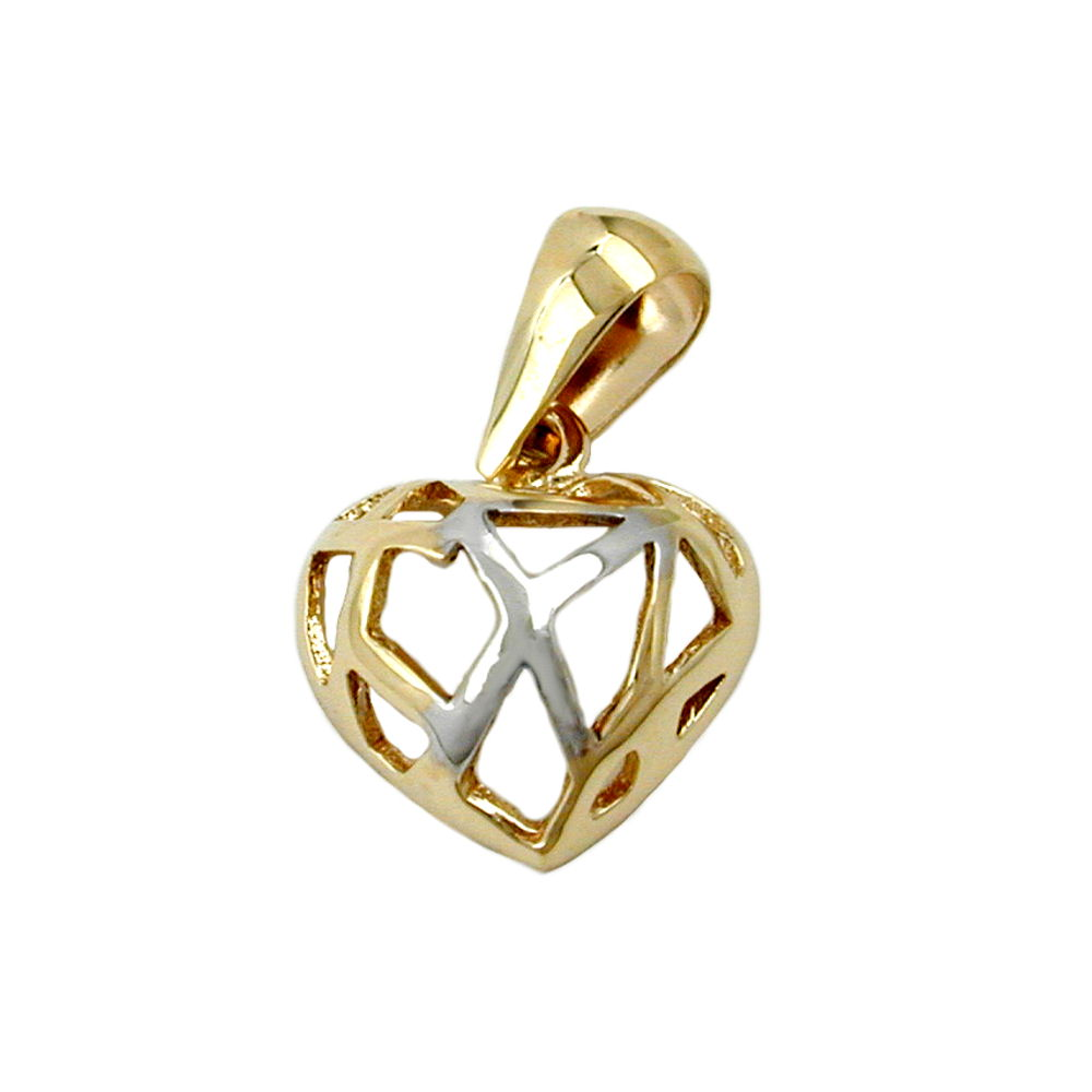 pendant heart with holes 9k gold