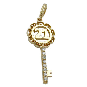 pendant key -21- with zirconia crystals 9k gold