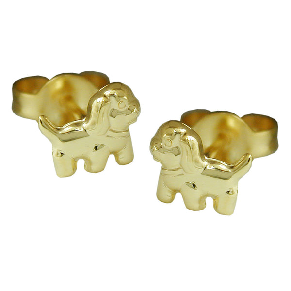 earring studs dog 9k gold