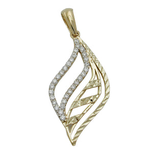 stunning diamond cut white cubic zirconia pendant - premium 9ct yellow gold - unique modern design - great gift for any occasion