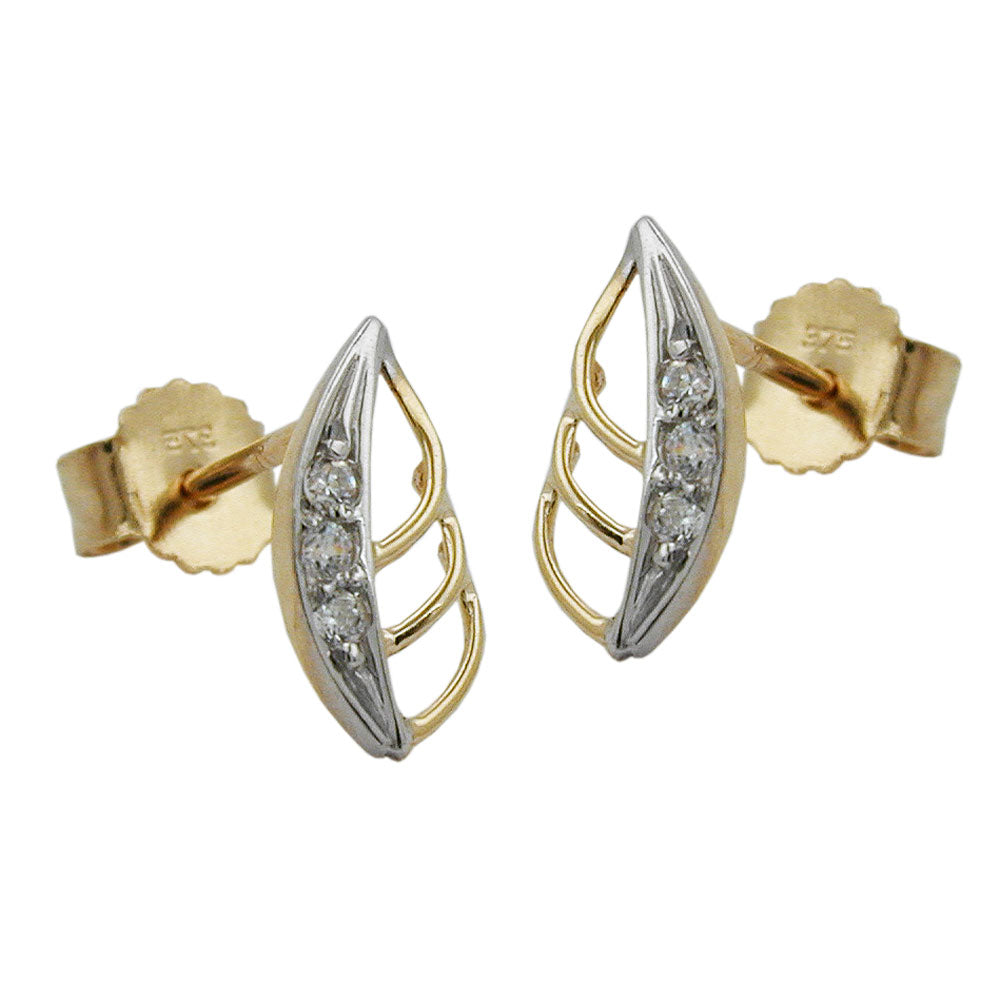 earrings studs leaf bicolor 9k gold