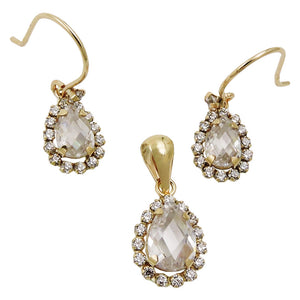 set earring/pendant zirconias 9k gold