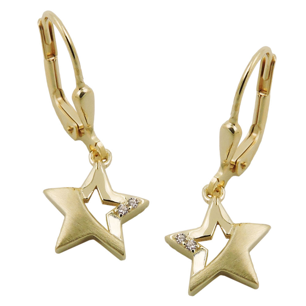leverback earrings zirconia 9k gold