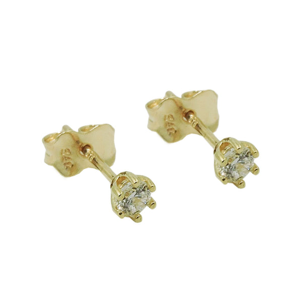 stud earrings 3mm zirconia 9k gold