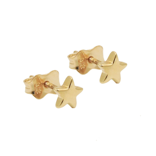 stud earrings star polished 9k gold