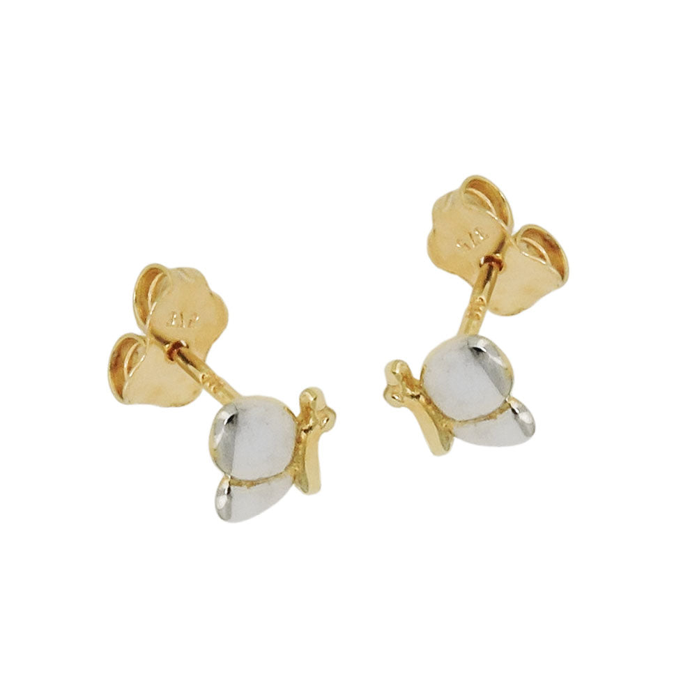 stud earrings butterfly bicolor 9k gold