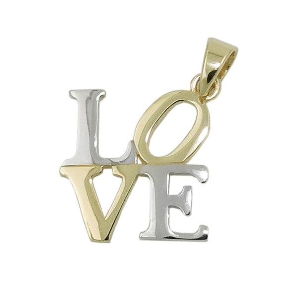 pendant love two tone 9k gold