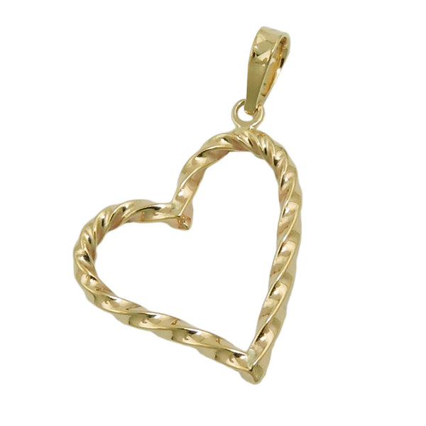 pendant heart twisted 9k gold