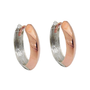 hoop earrings two tone 9k red white gold