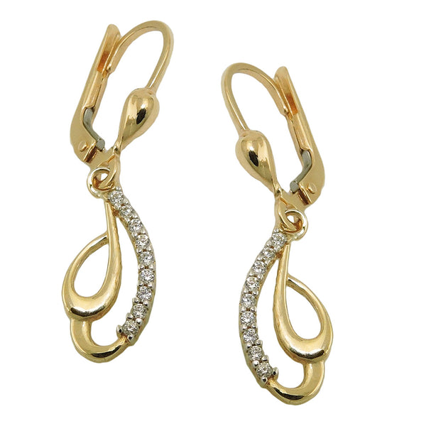 leverback earrings zirconias 9k gold