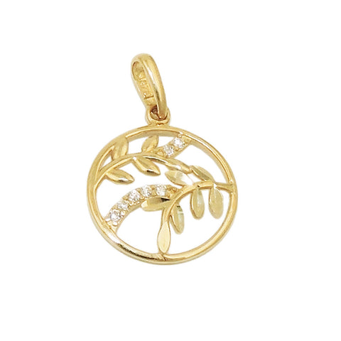 pendant leaf branch zirconias 9k gold