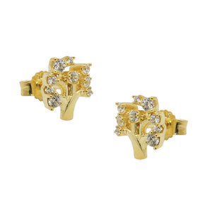 earring studs tree zirconias 9k gold