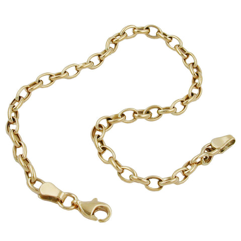 bracelet anchor chain oval 9k gold 19cm
