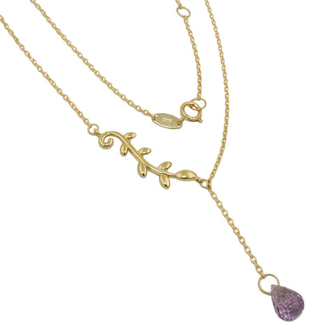 necklace 45cm amethyst 9k gold