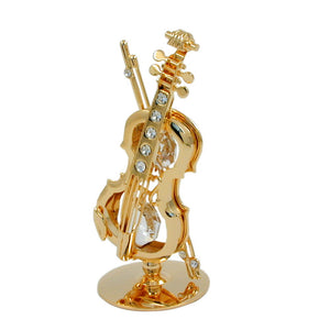 violin with crystal elements gold plated