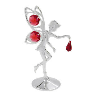 fairy with crystal elements red silver plated